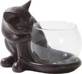Theelichthouder waxinelichthouder kat met glas 13,5x13x12cm