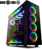 anidees AI Crystal XL RGB Gehard Glas / Staal Computer Gaming PC-behuizing suport HPTX / XL-ATX / E-ATX / ATX MB 480 / 360/280 Radiator met 5 RGB LED-ventilatoren en LED-strips - Zwart RGB