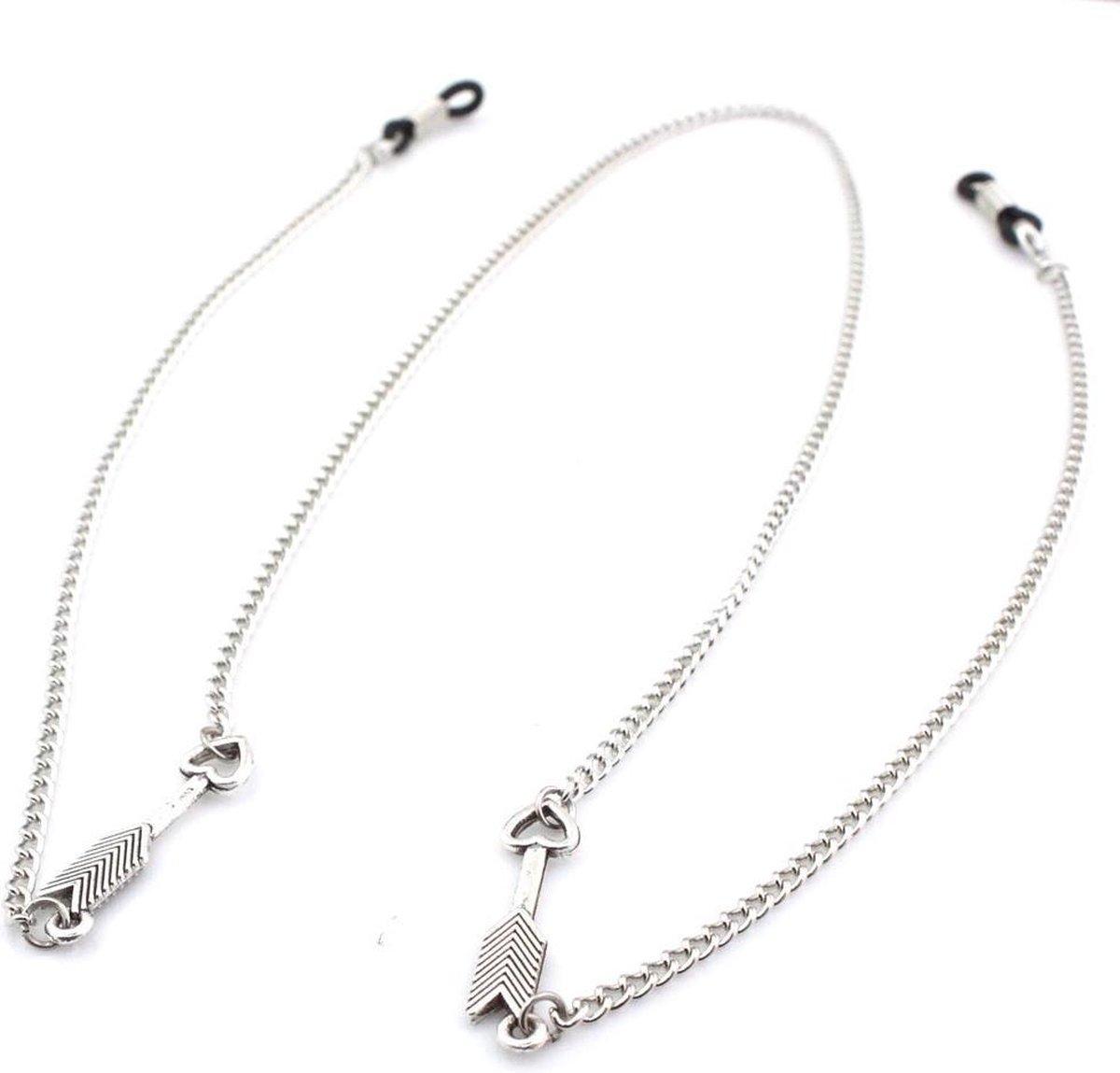 Brillenkoord - Kettinkje voor Zonnebril - Pijltjes met Hart - 78cm - Zilverkleurig - Dielay - Dielay