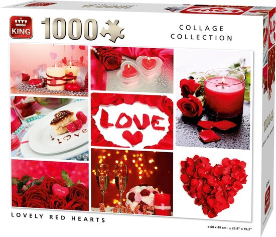 Puzzel 1000 Stukjes LOVELY RED HEARTS