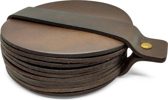 Leren Onderzetters - Rond - 10 stuks - Bruine onderzetters - Onderzetters van leer - Ronde onderzetters - Onderzetters voor glazen