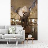 Grote olifant in het Natural History Museum in Londen fotobehang vinyl breedte 215 cm x hoogte 320 cm - Foto print op behang (in 7 formaten beschikbaar)