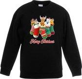 Kersttrui kerstsokken merry christmas zwart voor kinderen - kersttruien 5-6 jaar (110/116)