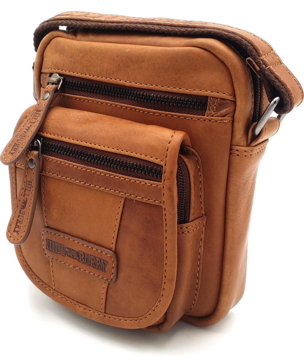 Hill Burry - VB10048 - 3112 - echt leren - schoudertas – crossbodytas- stevig - vintage leder- bruin /cognac