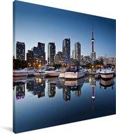 De gebouwen van Toronto weerspiegelen in het water Canvas 90x90 cm - Foto print op Canvas schilderij (Wanddecoratie woonkamer / slaapkamer)