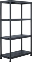 vidaXL Opbergrek 100 kg 60x30x138 cm kunststof zwart