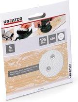 Kreator KRT230555 Schuurpapier rond – Ø125 mm – korrel K80 – 5 stuks - verf