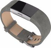 Bandje Leather - Grijs geschikt voor Fitbit Charge 2