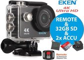 EKEN Action Camera H9R 4K Ultra HD +  Afstandsbediening + Wifi + 23 access & 12MP foto met OmniVision Chipsensor 4689 + Sandisk 32GB SD + Extra Accu + Waterproof bag