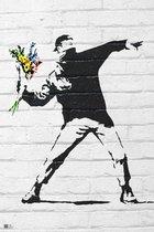 Banski art flowers graffity protest poster 61x91.5cm.