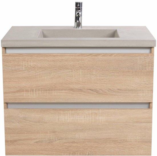 Saqu Gaia meubelset 80cm met Betonnen wastafel en 2 lades Bardolino Eiken