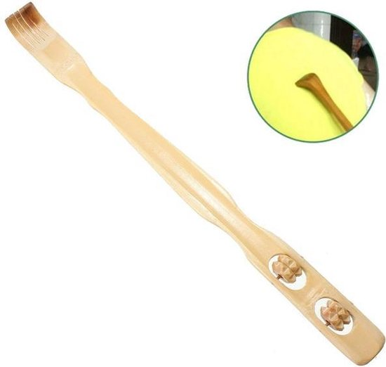 2-In-1 Bamboe Rugkrabber & Massage Roller - Rugmassage Stok - Rug Massage Apparaat