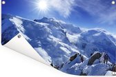 De Mont Blanc met mooie zonnestralen Tuinposter 90x60 cm - Tuindoek / Buitencanvas / Schilderijen voor buiten (tuin decoratie)