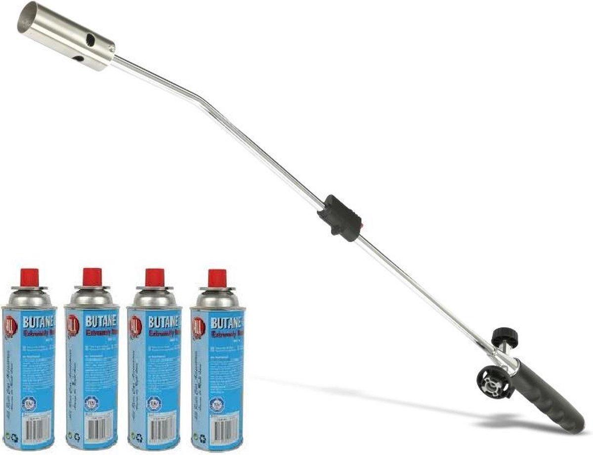Kinzo Onkruidbrander met Gasflessen - Regelbare gastoevoer - Inclusief 4 Gasflessen