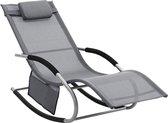 Schommelstoel bestemd voor Buitengebruik - Met hoofdsteun en Zijvakje - 172x63x84cm - Grijs