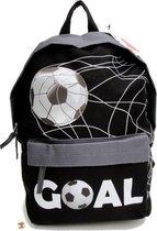 Run Away Goal! VOETBAL Rugzak - Lagere school - Basis Schooltas - Zwart grijs - Stoer !