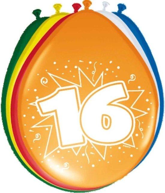 8x stuks Ballonnen versiering 16 jaar