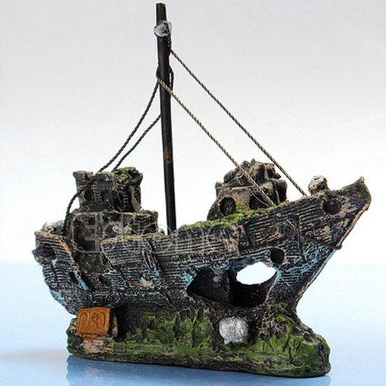 VSH Aqua Deco Gezonken Scheepswrak - Aquarium Decoratie - 13 x 5 x 11 cm