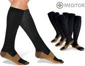 MeditorPlus Copper Therapeutische Compressiesokken 3 paar - Zwart - L/XL