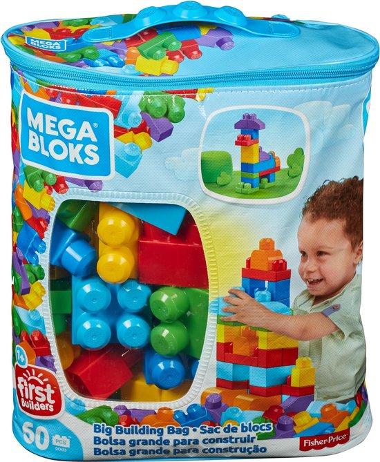 Mega Bloks First Builders 60 Maxi Blokken Met Tas Blauw - Contructiespeelgoed