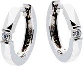 Glow oorringen - witgoud - diamant - 0.06ct - mat