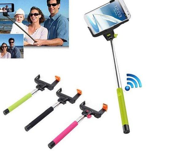 Selfie Stick met Bluetooth ingebouwde Afstandbediening 3-in-1 Zelfportret Monopod Uitschuifbare Selfie Stok met Verstelbare Telefoonhouder voor iPhone 6, 6 Plus, iPhone 5, 5s, 5c  en Android, Samsung Galaxy s4, s5, s6 kleur zwart