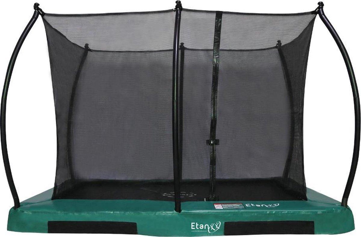 Etan Hi-Flyer Combi Inground Trampoline set - 281x201 cm - incl. Veiligheidsnet - Uv-bestendig Randkussen - Groen - Rechthoekig