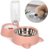 Voerbak en automatische water dispenser voor kat of kleine hond - roze