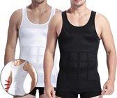 Corrigerend Hemd Mannen - Body Buik Shapewear Shirt - Figuurcorrigerend Correctie Ondershirt - Slim Waist Shaper - Mouwloos Onderhemd - Wit Medium