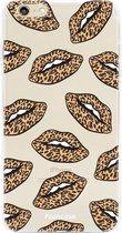 FOONCASE iPhone 6 / 6S hoesje TPU Soft Case - Back Cover - Rebell Leopard Lips (leopard lippen)