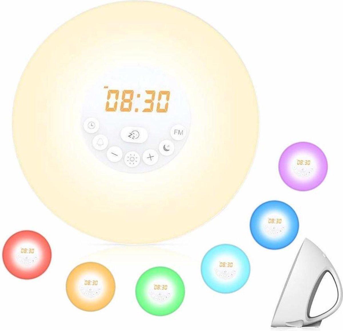 Wake up light | FM Radio | Alarm | Wekker | Snooze | 6 Verschillende Kleuren | Multi Kleur | 10 lichtinstellingen |