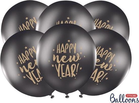 Ballonnen Happy New Year 50 stuks black/gold
