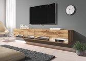 Meubella TV-Meubel Asino - Eiken - 200 cm (2x 100) - Met LED-verlichting