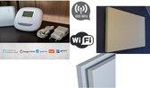 Optima W R3 wifi en RF thermostaat en 4 stuks warmte infraroodpanelen met korrelstructuur 700W, 230V, en 4 stuks RF opbouw ontvangers, 2HEAT