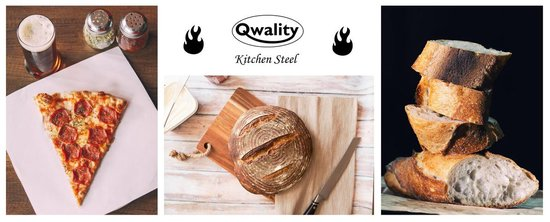 Pizzasteen van Staal – Pizza Steen - Pizza en Brood Bakken - 40 x 30 x 0,6 cm - Cadeau voor man - Kitchen Steel by Qwality