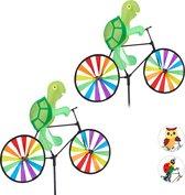 relaxdays 2 x windmolen schildpad - fiets - windspel - tuinsteker - tuin - kinderen