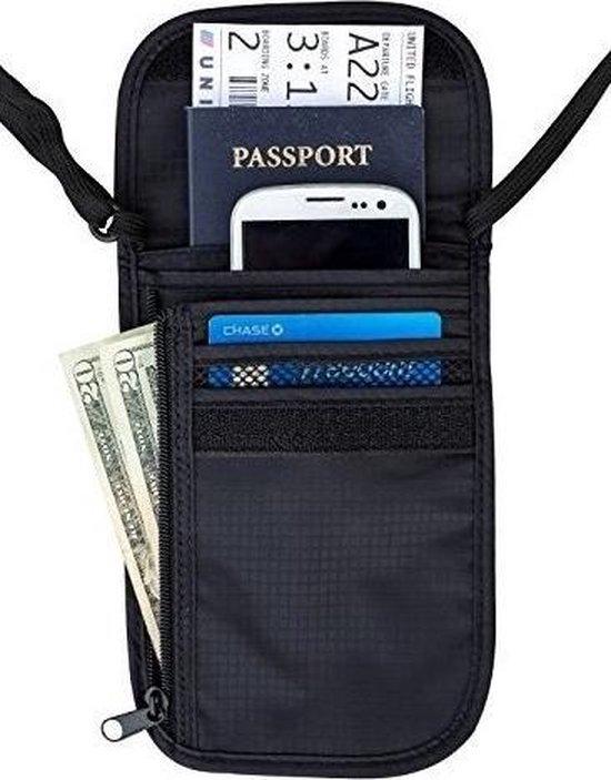 Reisportemonnee/nektasje zwart 14 x 17 cm - Documenten tasje met nekkoord - Nektas voor op reis