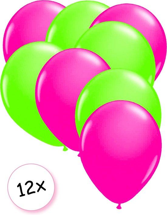 Ballonnen Neon Roze & Neon Groen 12 stuks 25 cm