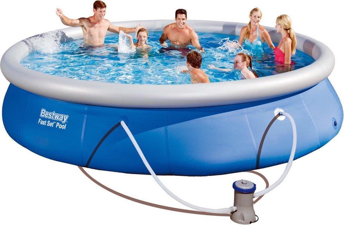 Bestway groot opblaasbaar zwembad - Ø 457 x H 84cm - incl. filterpomp met filter