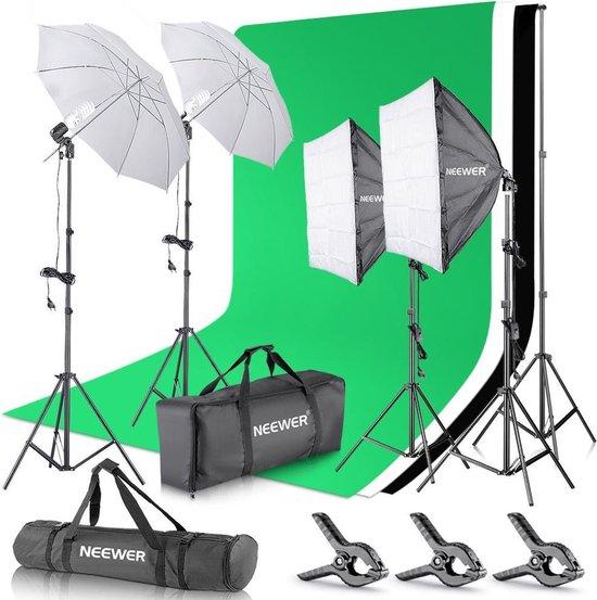 Neewer Fotostudio set   Fotografie   2x Softbox   2x Reflector   3 Kleuren achtergrond