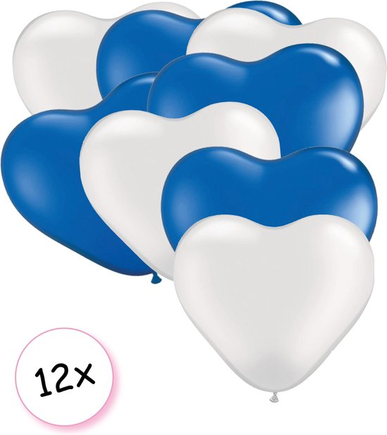 Ballonnen Hart Wit & Blauw 12 stuks 26 cm