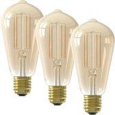 Calex Smart Home - slimme Wifi Vintage Edison Filament lamp - Goudkleurig - set van 3 -  bedienen met Amazon Alexa, Google Home, Calex Smart App