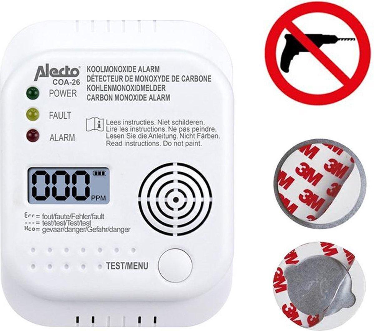 Alecto COA-26 Koolmonoxide melder - Met magnetische montageset - 7 jaar sensor - Geen gaten boren!