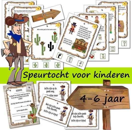 Afbeelding van het spel Speurtocht voor kinderen - Dunne Mike & de Cactusbroers  - 4 t/m 6 jaar - kinderfeestje - speurtocht - speurpakket - compleet draaiboek - PRINT ZELF UIT!