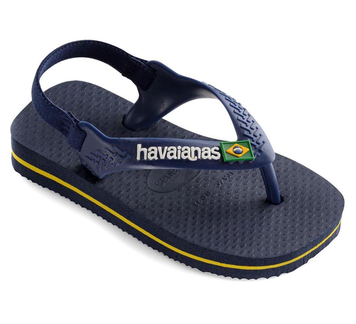 Havaianas Baby Brasil Logo II Jongens Slippers - Navy Blue/Citrus Yellow - Maat 25/26