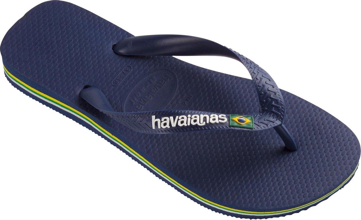 Havaianas Brasil Logo Unisex Slippers - Navy Blue - Maat 45/46