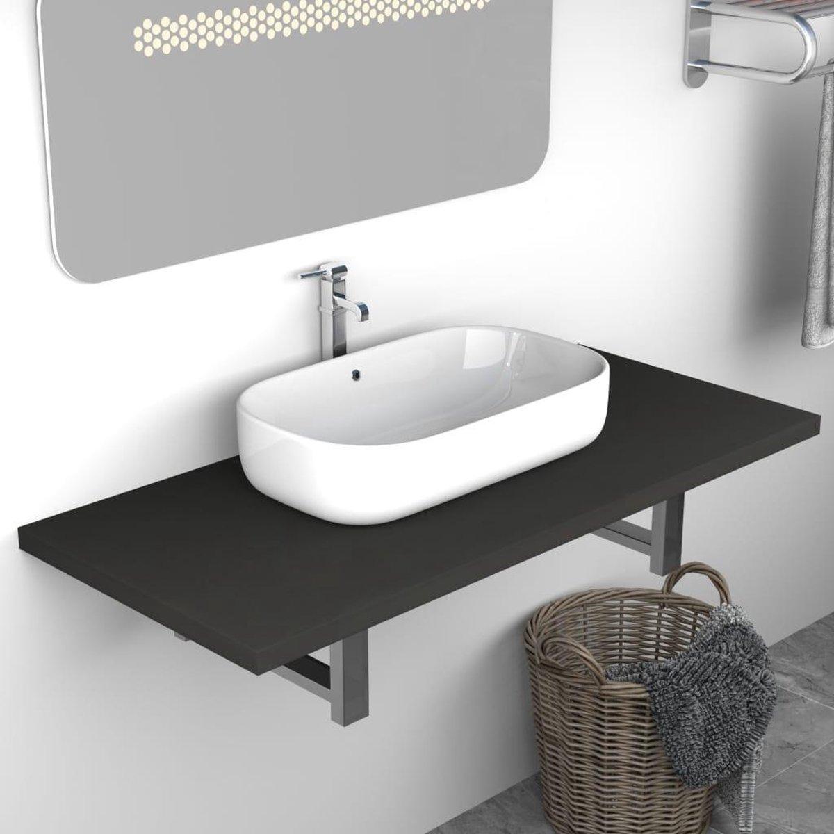 Badkamer wandschap voor wastafel 90x40x16,3 cm grijs