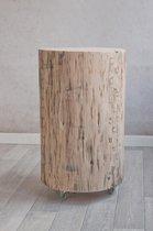 Boomstam tafel 45 cm hoog met zwenkwieltjes