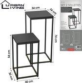 Urban Living - Set van 2 Metalen Bijzettafels - Industrieel Design