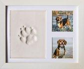 Frummel Fotolijst met Kleiafdruk - Pootafdruk Hond - Gipsafdruk huisdier - 22,5 x 27,5 cm - Wit
